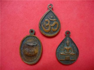 Special 3 Coins Thai Amulet Buddha Small Coins Old RARE LP Tuad