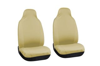 Solid Tan Beige PU Leather High Back Front Bucket SUV Auto Seat Covers