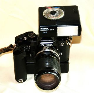 Nikon FE Film Camera w/Lens  Motor Drive  Flash Film Camera Case