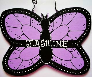 5x8 Personalized BUTTERFLY Room Door SIGN Name Wall Plaque Girls