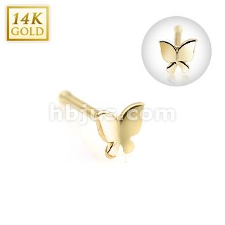 14k Solid Gold Butterfly Nose Bone Studs Rings Jewelry