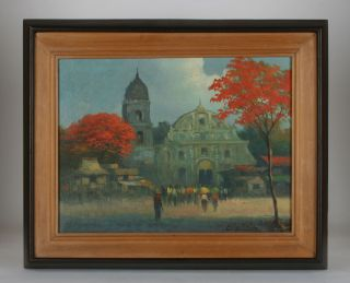Impressionist Oil Painting Artist Cesar Buenaventura Listed Filipino