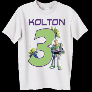 New Personalized Buzz Lightyear Birthday White T Shirt All Toddler