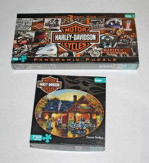 Lot 2 Harley Davidson Buffalo Games 750 PC Jigsaw Puzzles New