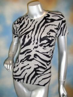 New $145 C by Bloomingdales Cashmere 100 Cashmere Gray Animal Print