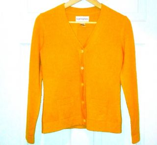 Bloomingdales Cashmere Sweater Cardigan in Mustard Yellow Size Small