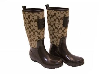 Coach Pearl Signature Womens Khaki Chestnut Rain Boots Authentic New