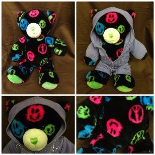 Build A Bear 15 Smiley Face Smiles Peace Sign Black Teddy Bear Plush
