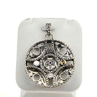 142561 John Hardy Palu Bulan 18K Gold Silver Medium Circle Pendant