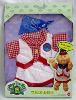 Mattel Cabbage Patch Kids Baby Fashion Outfit Western Fashion 1996 New