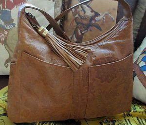 Cabin Creek Rich Brown Leather With Print   Hobo Shoulder Bag Handbag