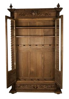 Antique French Carved Oak Converted Bookcase Locking Gun Cabinet