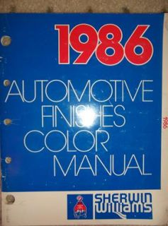 1986 Sherwin William Auto Paint Color Manual Truck W