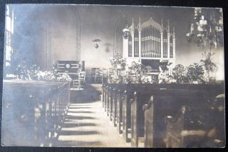 Bullville Crawford NY 1908 Inside Church Organ RPPC