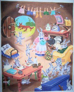 JP Designs Home Sweet Rabbit Home Handpainted Needlepoint Canvas