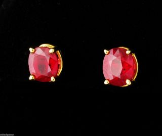 CO SIGNED 3 0ct NATURAL UNTREATED BURMESE RUBY 18K GOLD STUD EARRINGS