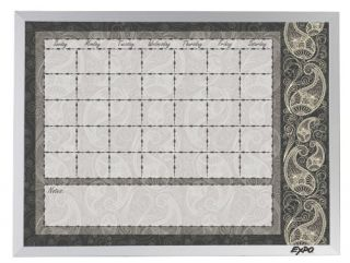 Expo Calendar Dry Erase Board with Paisley Pattern 18 x 24 Inches