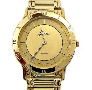 New Mens Solid 14k Yellow Gold Geneve Watch 52 Grams