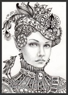 ACEO Original Sketch Card Fairy Tangle™ Victorian Steampunk Elf