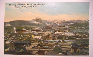 Vintage Postcard Butte Montana Meaderville Side of Butte Hill Looking