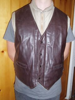 Vtg 70s Schott Vest NYC Leather USA Sz 48 Made in USA