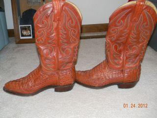 Size 8 5 Mens Leather Cowboy Boots Burnt Orange Aligator