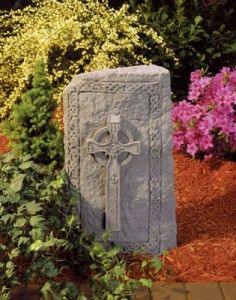 Garden Plaque Garden Decor Stone Plaque Celtic Cross Obelisk Cast