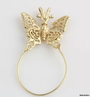 Butterfly Charm Holder Pendant   14k Yellow Gold   Polished Solid