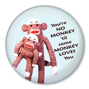 Some Monkey Loves You Sock Doll Pinback Button Badge