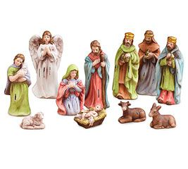 Mini Nativity Scene 11 Piece Set Christmas Jesus Mary Joseph Porcelain