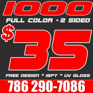 1000 Full Color Business Cards Printing & Design UV  WOW