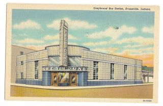 1930s linen post card view of the Greyhound Bus Station or terminal