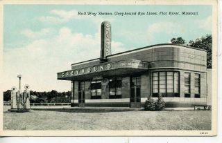 Flat River Missouri Greyhound Bus Depot Gas Station Vintage Postcard