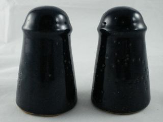 Bybee Pottery Navy Blue Salt Pepper Set w original plastic stoppers KY
