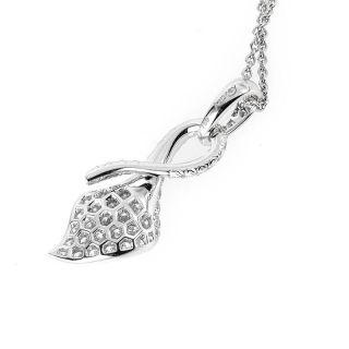 Asprey 18K White Gold Diamond Pave Calla Lily Pendant Necklace
