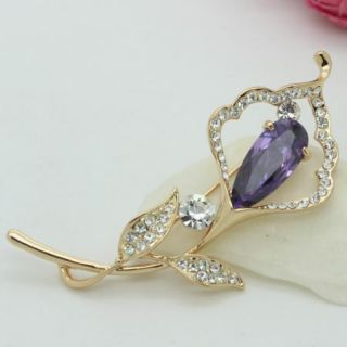 18K Gold Plated Calla lily Clear Crystals Pin Brooch Fashion Jewelry