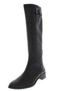 Cole Haan New Callan Black Leather Stretch Buckle Knee High Boots