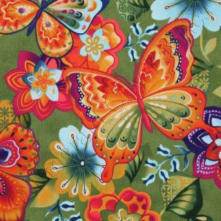 Kona Bay Rainbow Garden Butterfly Floral Green Japanese Asian Oriental