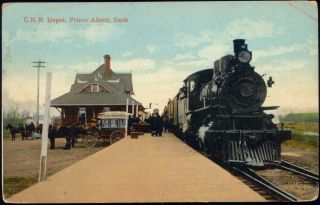 e487 canada prince albert sask c n r depot train railway station 1914