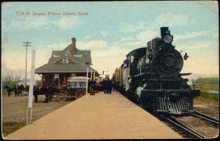 e487 canada prince albert sask c n r depot train railway station 1914