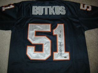 DICK BUTKUS HOF SIGNED THROWBACK BLUE CHICAGO BEARS JERSEY W SCHWARTZ