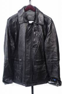 Calvin Klein L Black Leather Motorcycle Mens Patch Jacket Coat $498