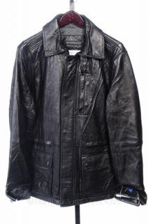 Calvin Klein L Black Leather Motorcycle Mens Patch Jacket Coat $498