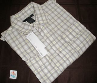 Calvin Klein Jeans Casual Dress Shirt Yellow Gray L