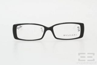 Bvlgari Black White Silver Jeweled Rectangular Frame Eyeglasses 4039 B