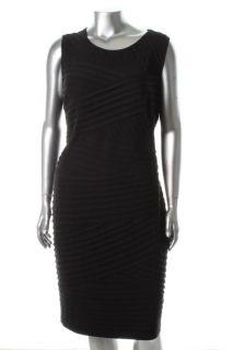 Calvin Klein New Black Jersey Pleated Sheath Cocktail Dress Plus 20W