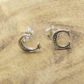 letter c 925 silver stud earrings earrings plain cute initial letter c