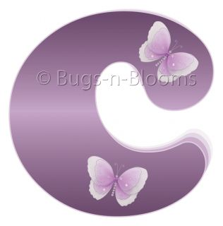 Purple Letter Name Nursery Butterfly Bedroom Wall Decor Mural Vinyl