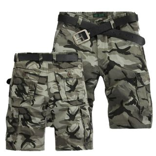 Mens Summer Camo Combat Army Pocket Sports Cargo Shorts Utility Cotton