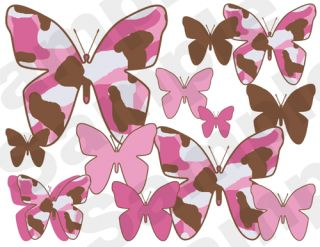 Pink Brown Camo Butterfly Hunting Nursery Baby Girl Wall Border